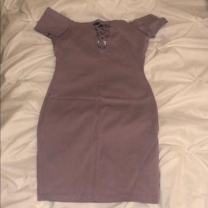 Lavender off-shoulder dress